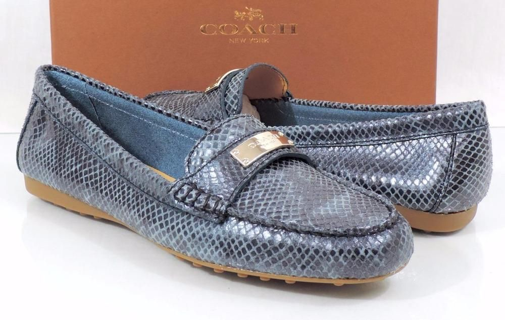 Women's Coach FREDRICA Driving Loafers Moccasins Print Pearl Snake Teal Size 9.5 #Coach #LoafersMoccasins #Casual