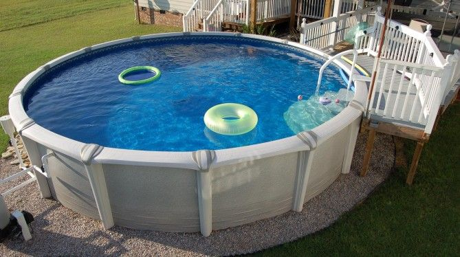 round fiberglass above ground pools with deck for kids