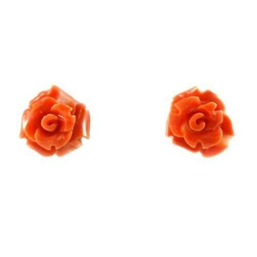 Ohrringe Gold und Diorröschen von Koralle Rot Lachsrot - 3,3 Gr; 1 CM