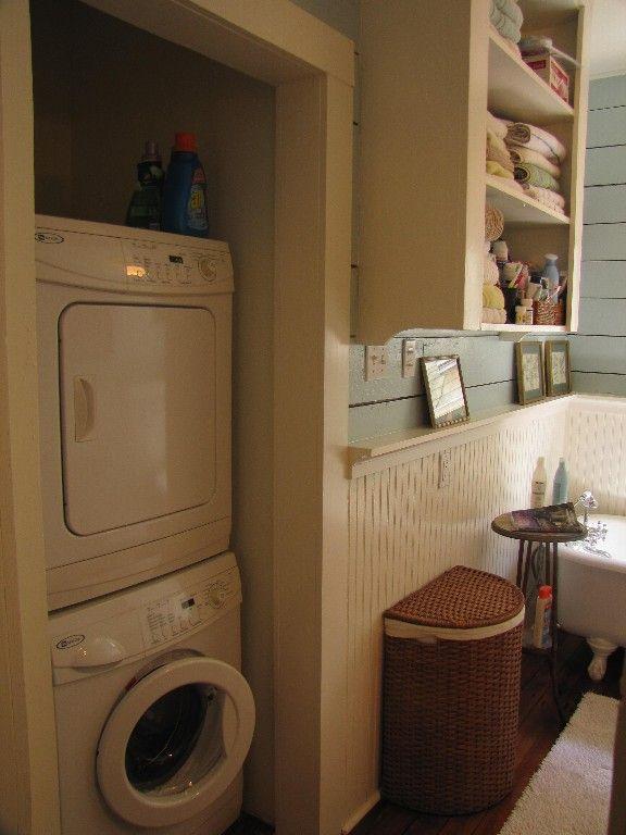 Stack Washer Dryer In Bathroom Closet Guest Bathroom Remodel Laundry Room Storage Master Bathroom Layout