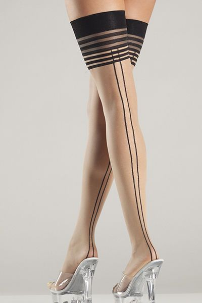 One Size Black Fishnet Thigh Hi With Back Seam