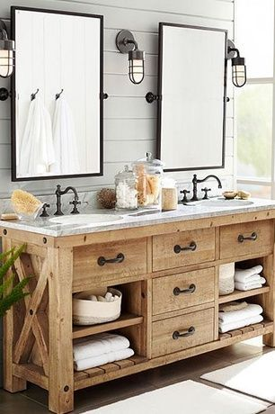 Dream Master Vanity Rustic Master Bathroom With European Cabinets Pottery Barn Kensington Pivot Rectangular Mirror Inset Cabinets Double Sink