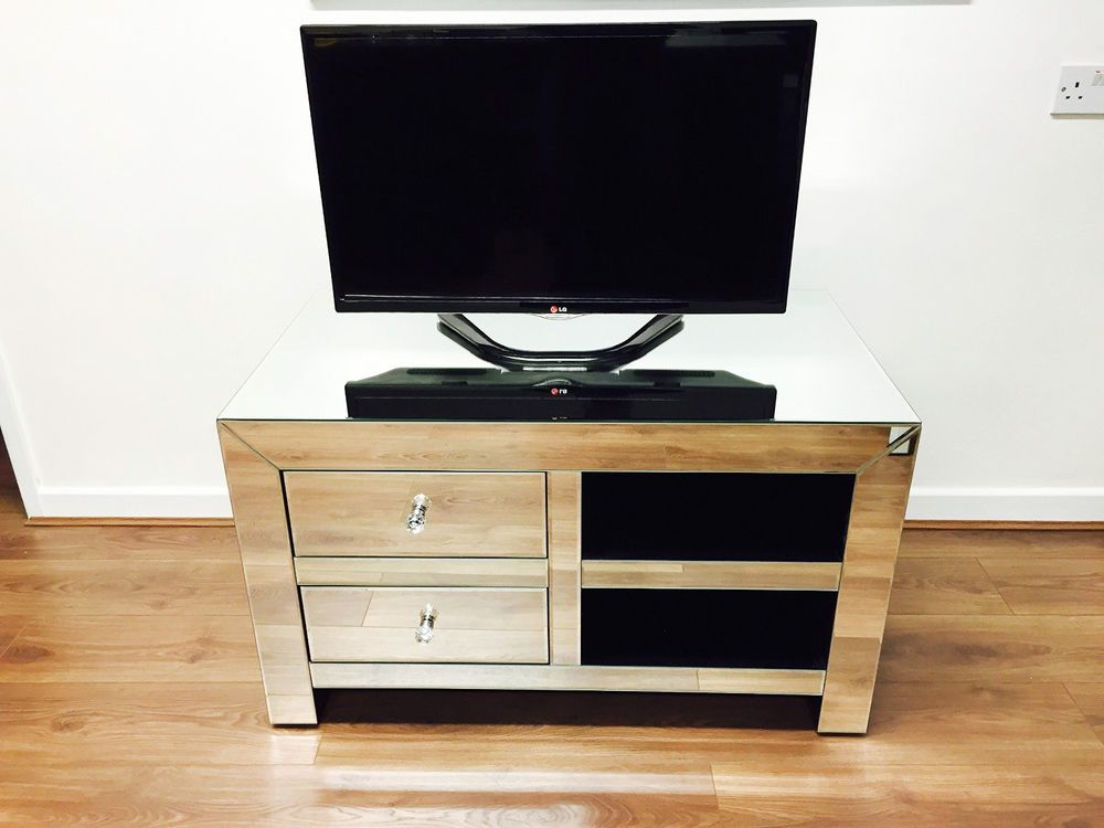 Mirrored Tv Unit Television Cabinet Coffee Table Silver Modern Stand Furniture