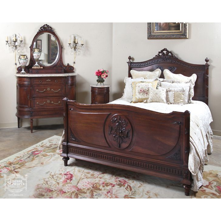 Antique French Louis Xvi Walnut Bedroom Set Online Antique Store Antique Bedroom Furniture