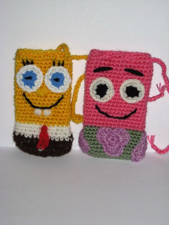 Crochet phone case SpongeBob and Patrick Cell phone by Pletionica ...