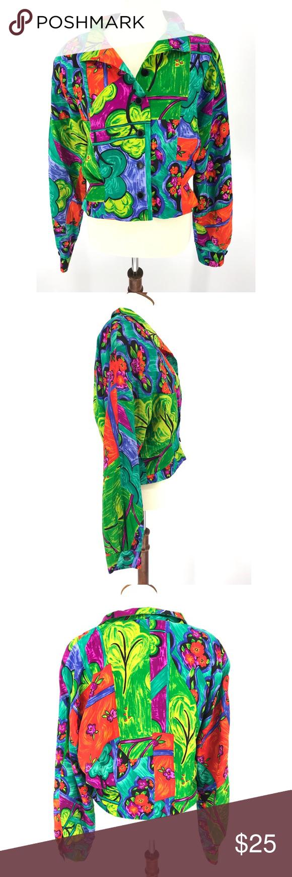 Vtg 80s Doncaster Jacket Colorful Trees Floral Super