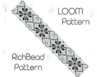Beaded loom pattern, PDF seed bead bracelet, DIY beading