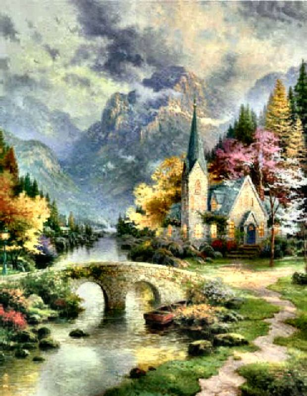 DIY 5D Diamond Painting Full Drill Kit Thomas Kinkade The Mountain Chapel Child 40X50 cm