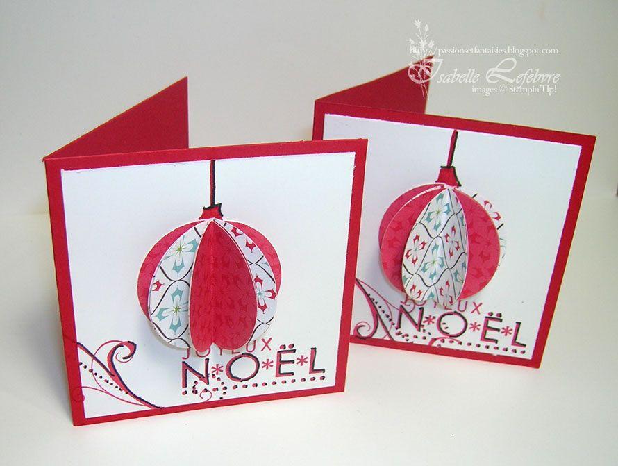 Carte 3d Boule De Noel Carte Noel Cartes De Noel A Faire