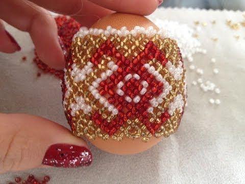 вязание с бисером мк пасхальное яйцо Youtube Beaded Ornaments