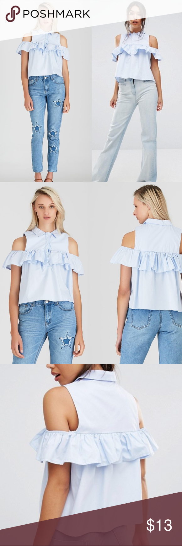 d1e51d87cc2 BOOHOO Light Blue Frill Cold Shoulder Shirt sz M Boohoo Frill Cold Shoulder  Shirt COLOR: