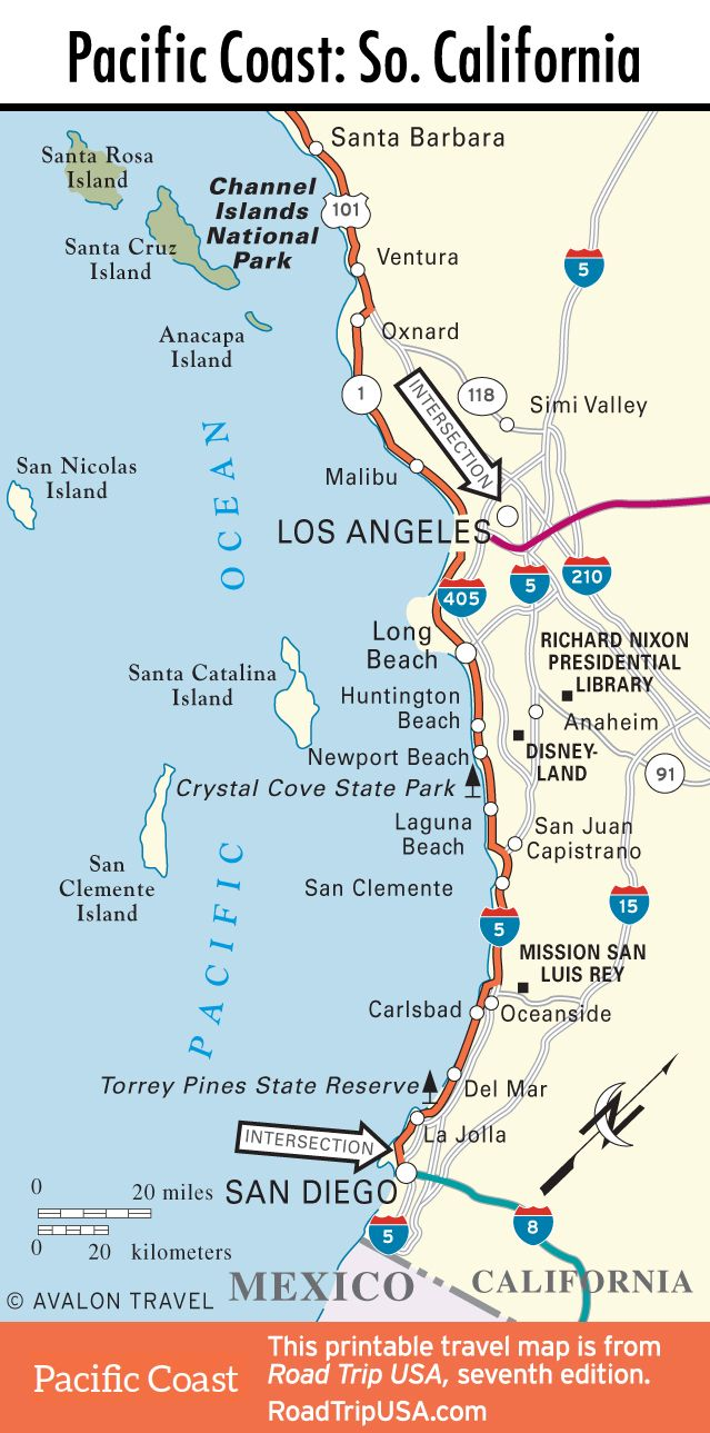 map of pacific coast through southern california