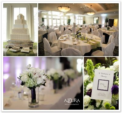 Flower Centerpieces With White Beige And Green Wedding Theme Purple