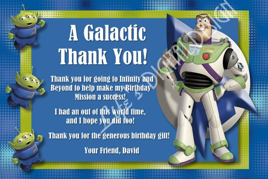 Buzz Lightyear Toy Story Thank You Card Photo Option Customizable Printable 10 00 Via Etsy Toy Story Birthday Party Toy Story Birthday Its My Birthday