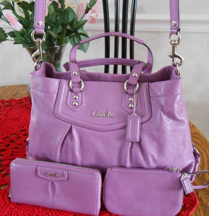 Coach Ashley Leather Carryall purse,Wallet, and Wristlet  Wisteria , Amazing spring color $300