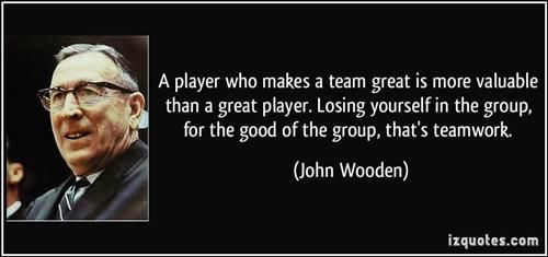 Great Teammate... | Coach John Wooden | Great team quotes ...