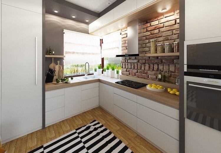 graue Wandfarbe, Arbeitsplatte in Holzoptik und weiße Fronten ... | {Arbeitsplatte küche grau holz 70}