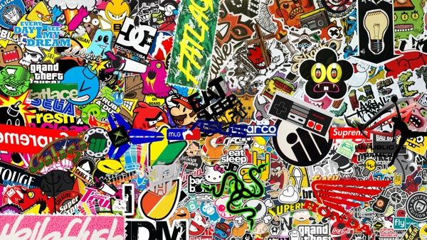 Omg Sticker Bomb Hd Wallpaper 1080p Resolution By Micah Robertson Super Cool Sticker Bomb Wallpaper Sticker Bomb Hd Wallpapers 1080p