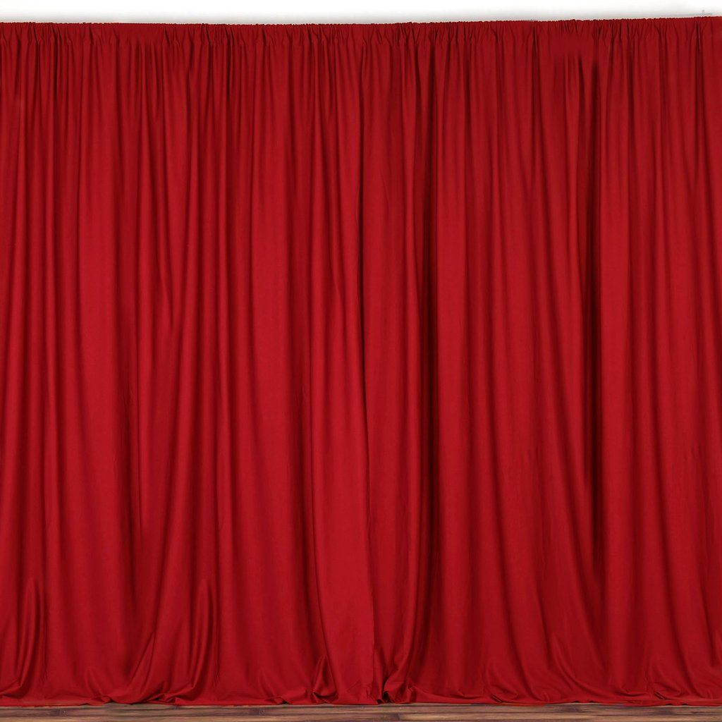 Pack Of 2 5ftx10ft Red Fire Retardant Polyester Curtain Panel Backdrops With Rod Pockets Red Curtains Panel Curtains Colorful Curtains