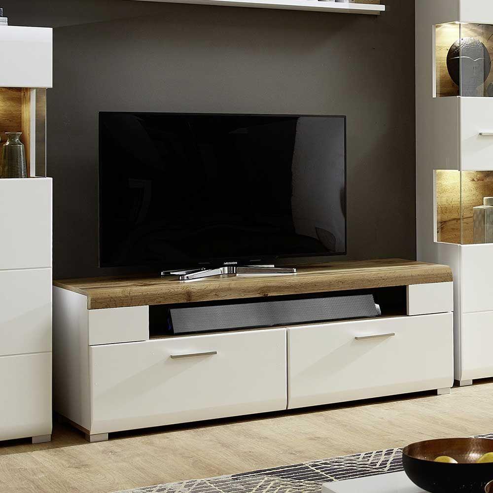 TV Board in Weiß Eiche 140 cm breit Jetzt bestellen unter: https ...