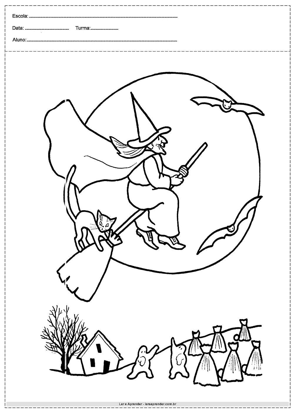 Desenho Da Bruxa Voando Na Vassoura Bruxas Desenho Desenhos De