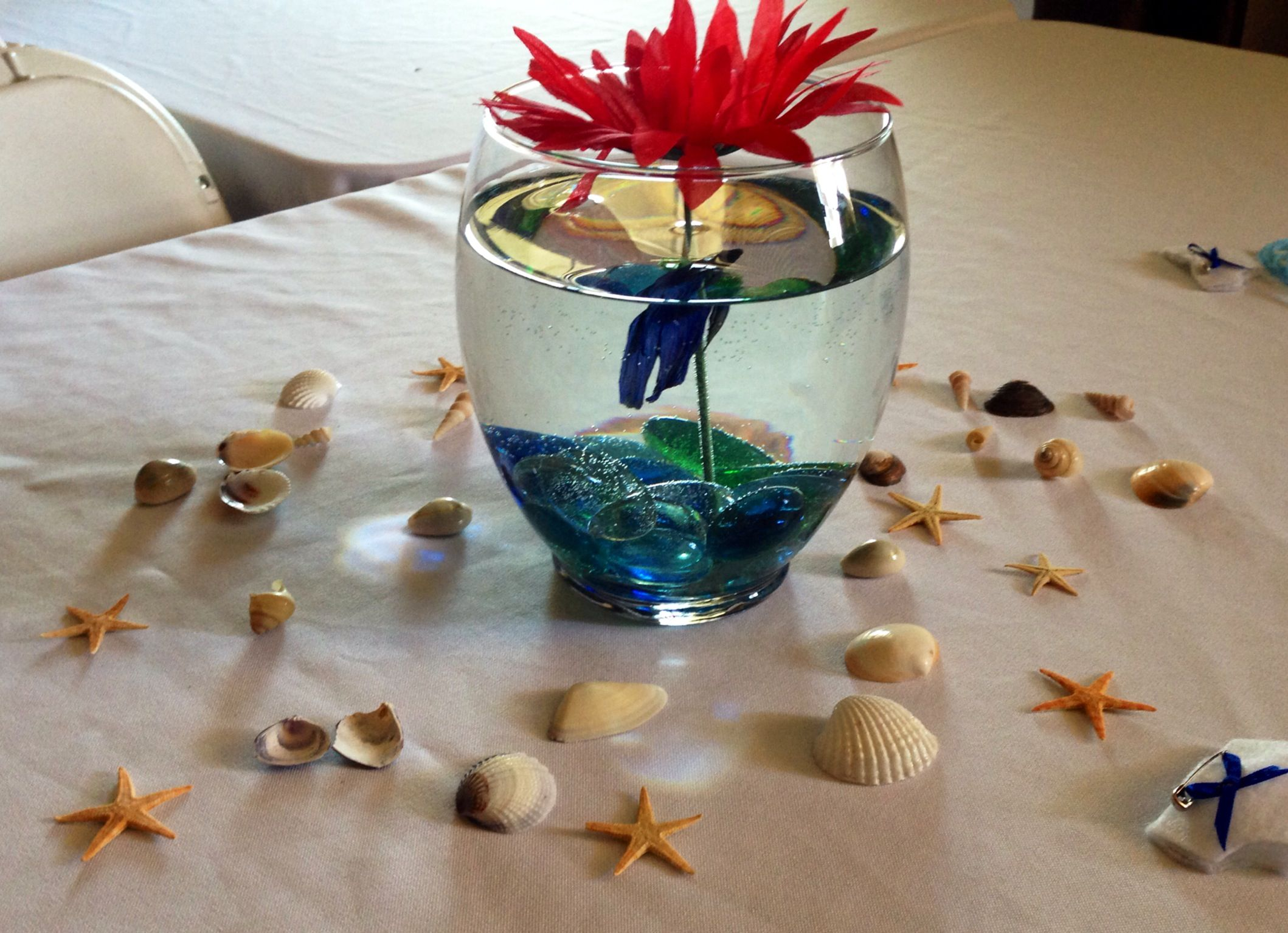 nautical theme baby shower blue betta fish shells u0026 starfish around table