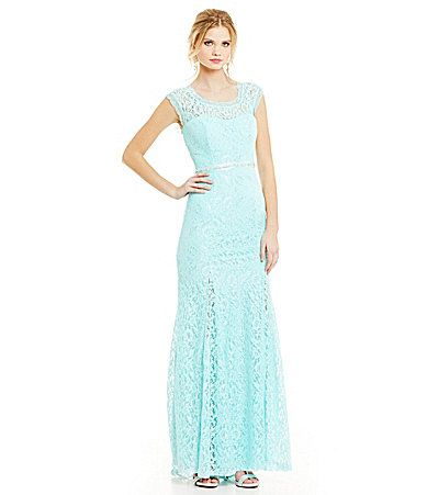 Sequin Hearts Beaded Shoulders Lace Gown Dillards 159 Pretty