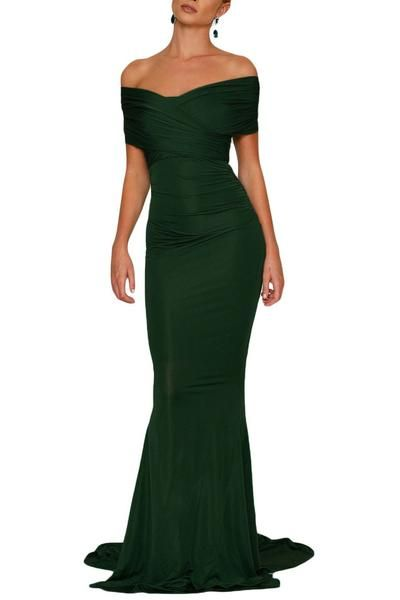 Emerald Bardot Off-shoulder Mermaid Long Formal Dresses  8f55ee219032