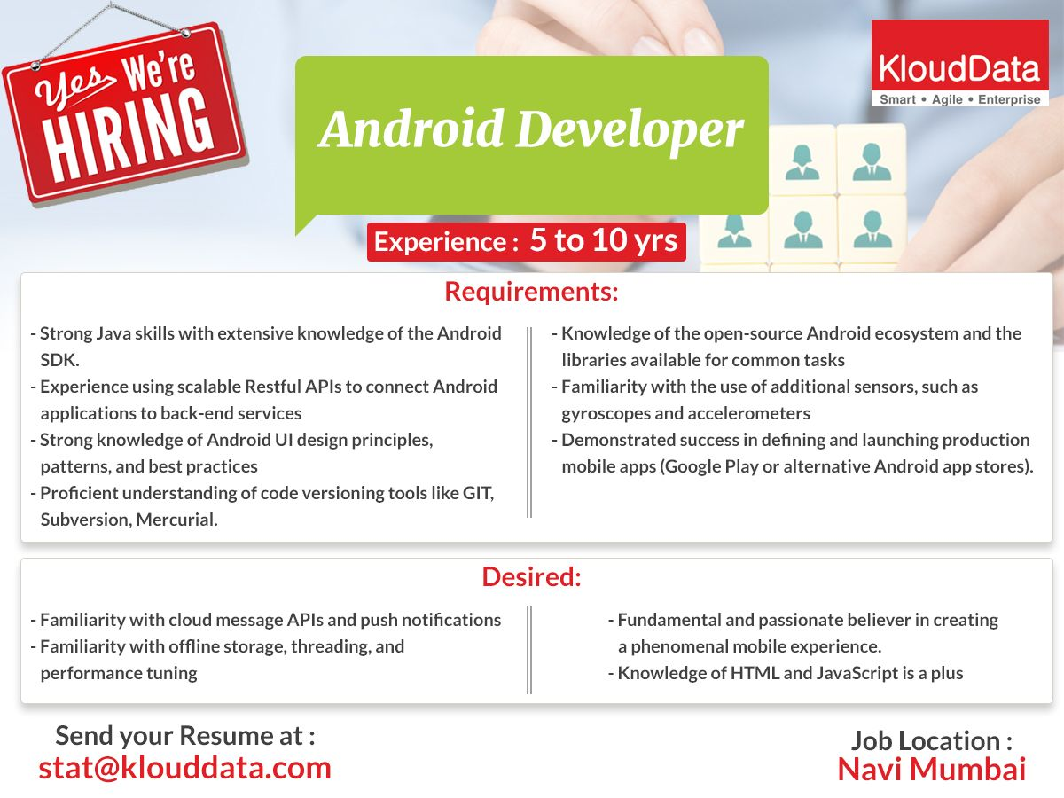 We Are Hiring For Android Developer If Interested Kindly Forward