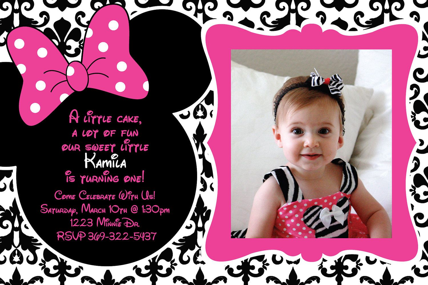 Minnie Mouse Damask Background Birthday Party Custom Invitation OR Thank You Card 1 3 Photos Option