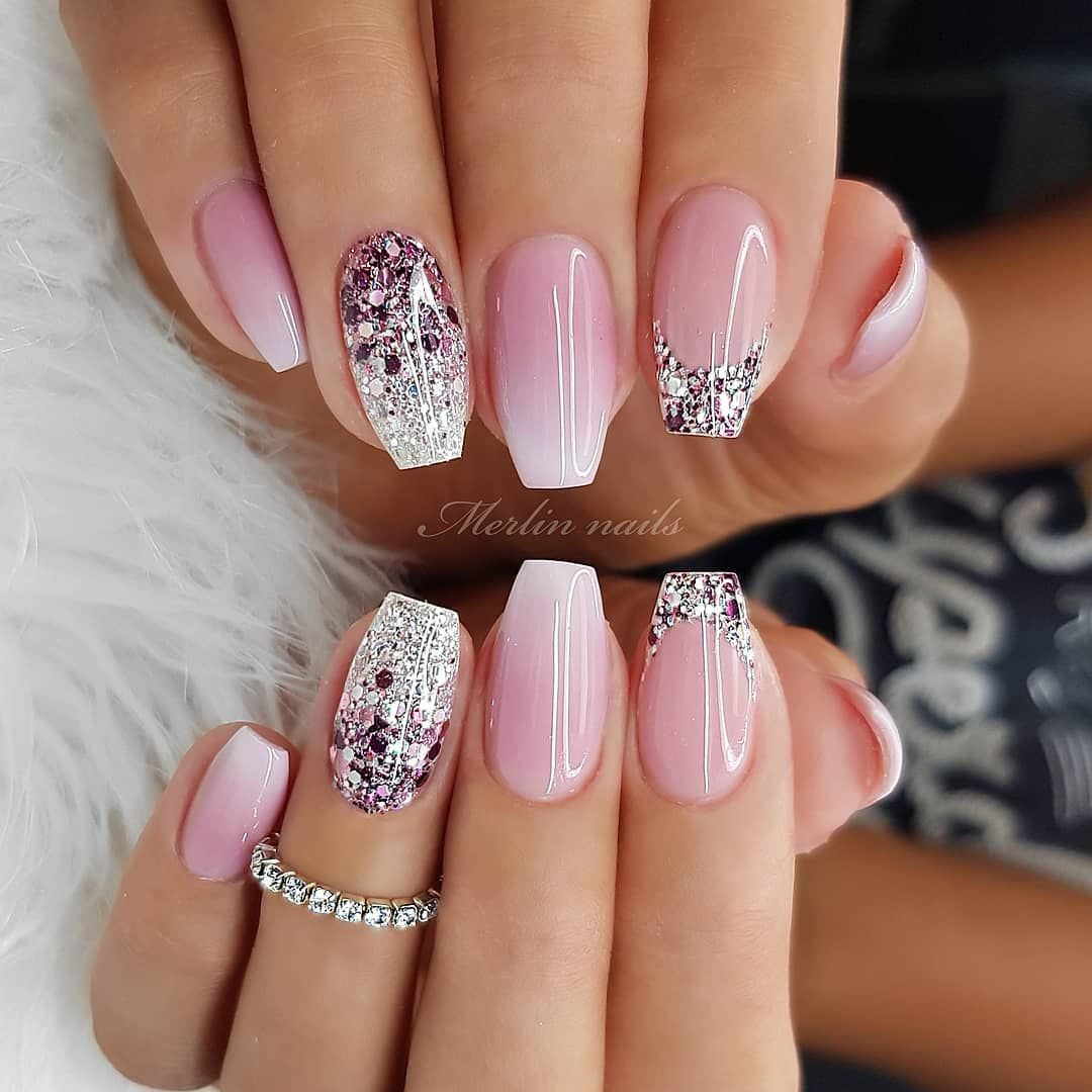 Merlin Nails On Instagram Made With Jet Set Beauty Nails Natural Pink Fiber Xtreme Gel Soft White Fro Gel Nail Art Designs Pink Nails Nail Designs Glitter