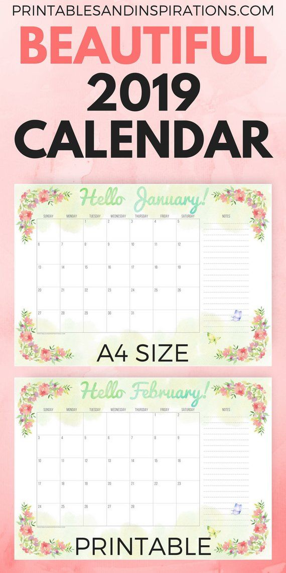 2019 Calendar Green Floral A4 Printable Planner Sunday Monday