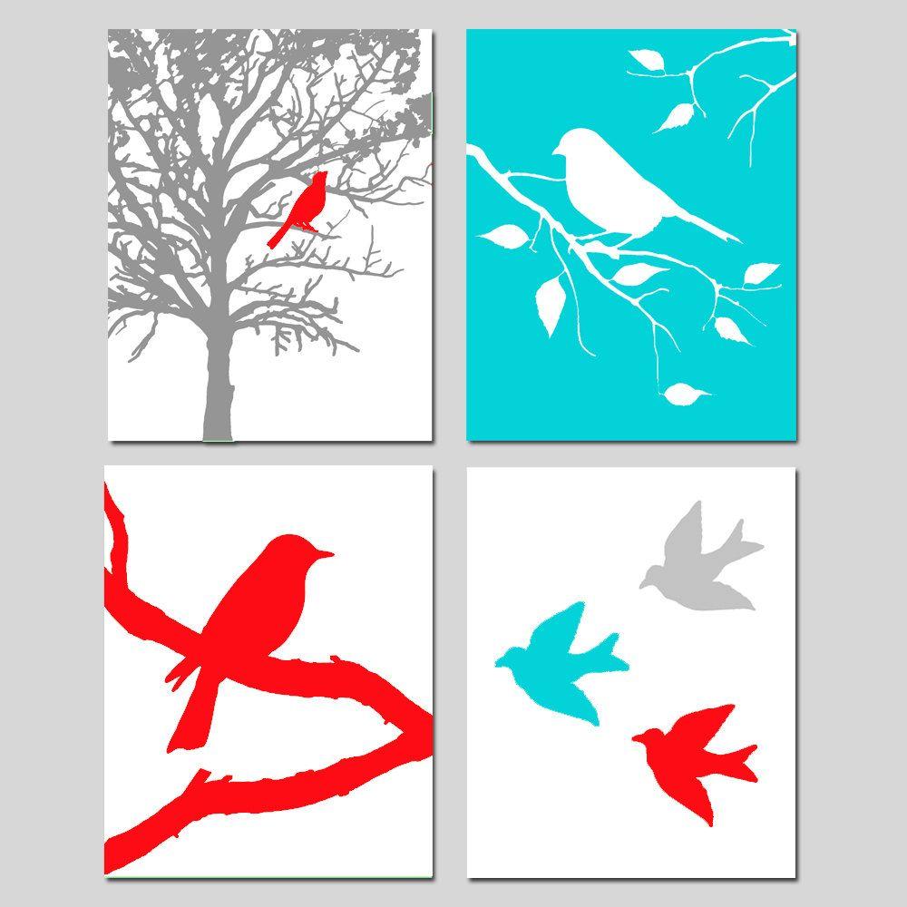 Modern Bird Quad - Set of Four 8 x 10 Prints - Modern Nursery Decor - Gray, Red, Aqua, Mint Green, Orange, and More. $65.00, via Etsy.