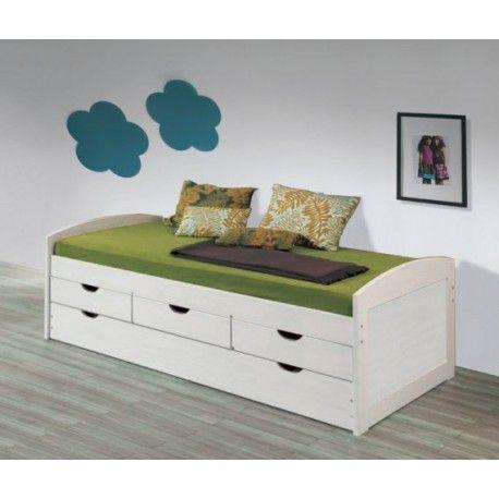 Cama nido en pino con cajones color blanco lavado 130790 - Ofertas de sofas en merkamueble ...