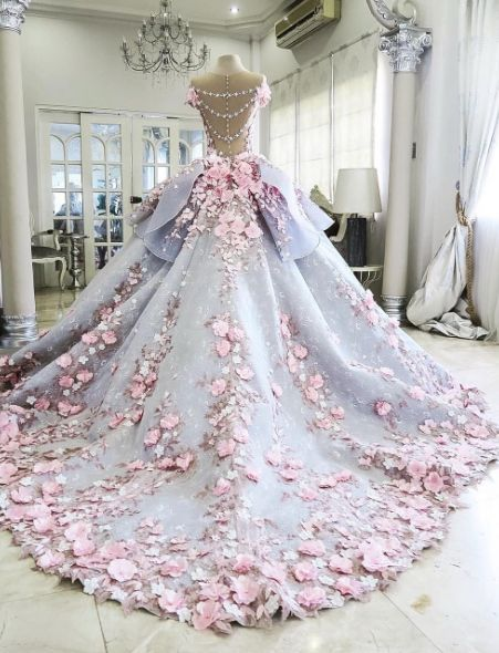 Pink Floral Embroidered Purple Ballgown Wedding Dress | Clothing ...