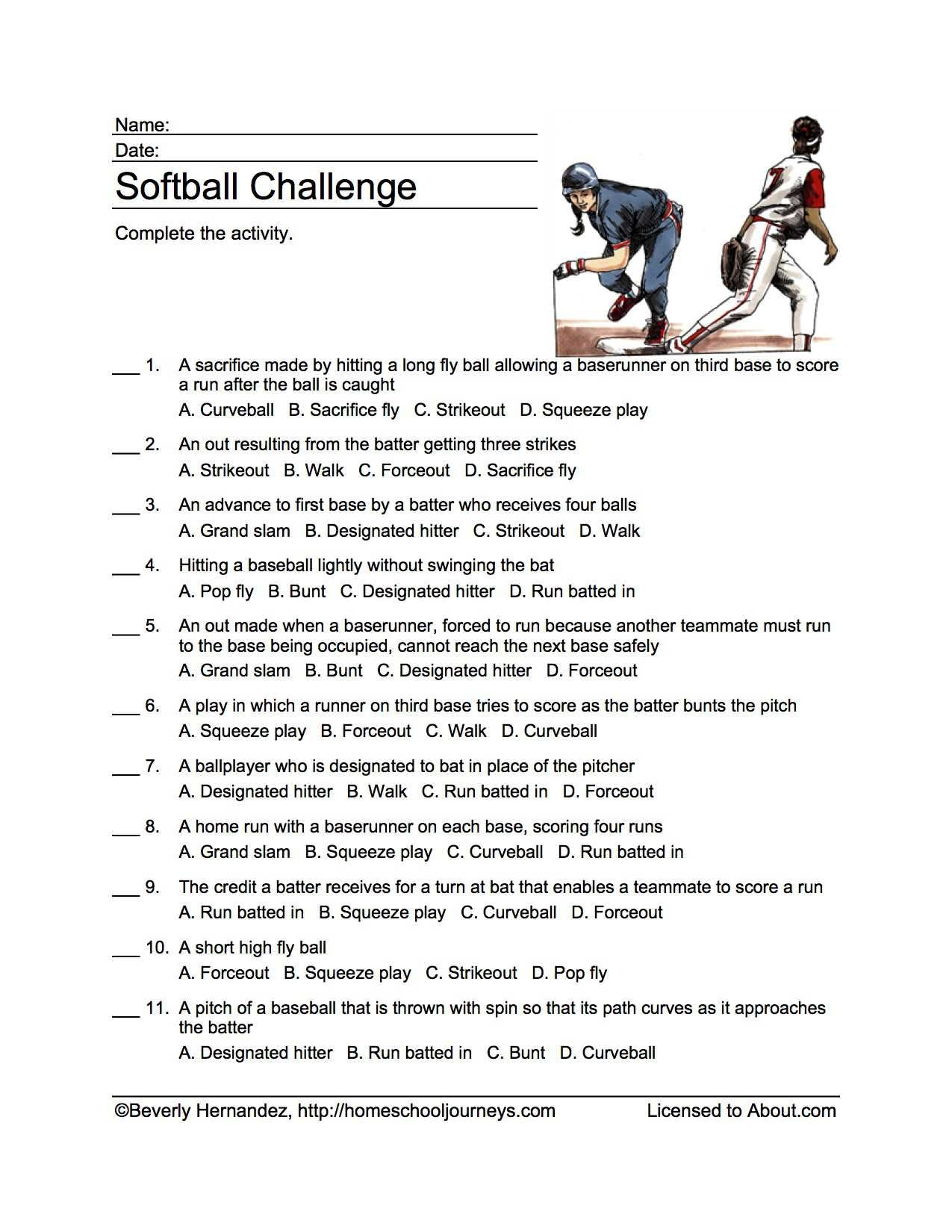 Softball Word Search Vocabulary Crossword And More In