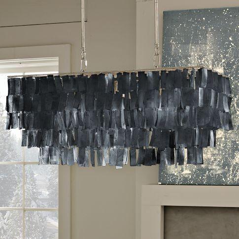 Large Rectangle Hanging Capiz Pendant in Gray