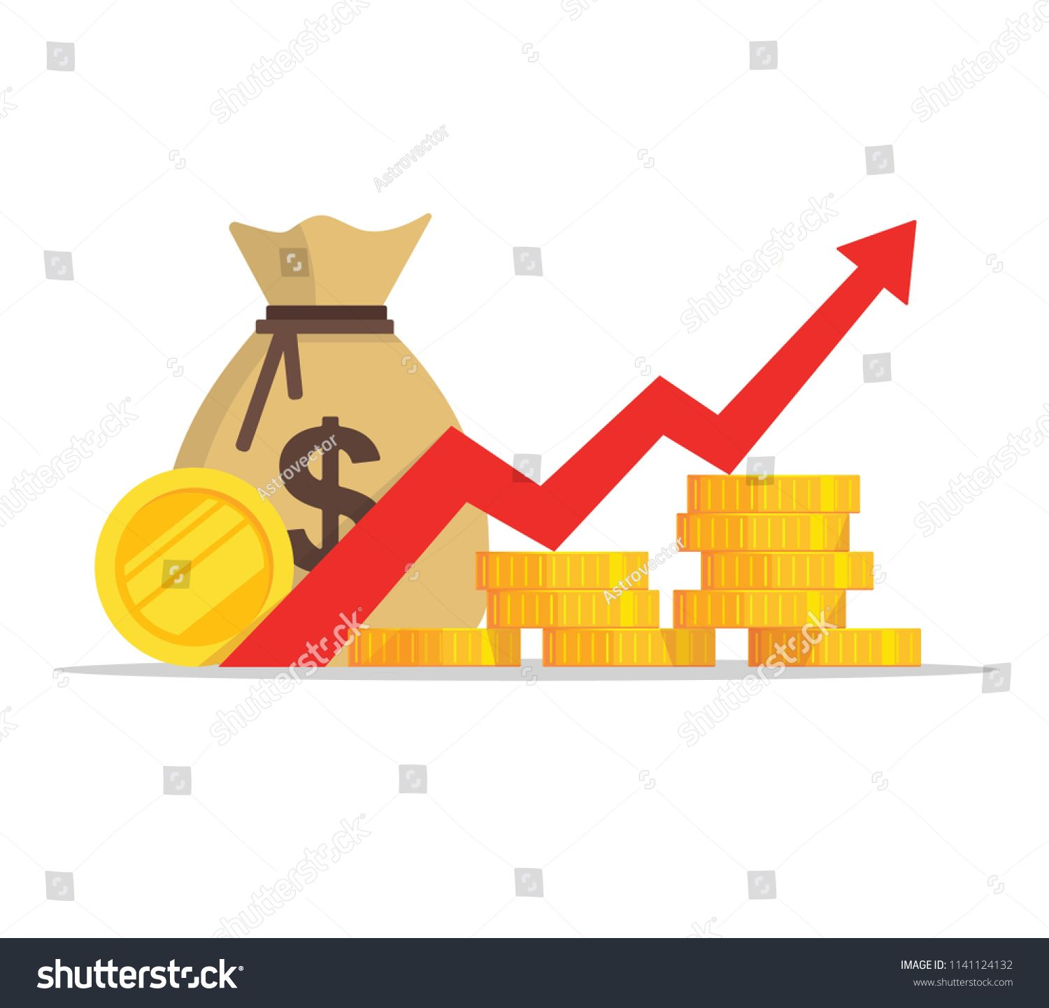 New Flat Cartoon Pile Of Cash Profit Benefits Money Or Budget Rising Graph Arrow Up Business Success Concept Economic Success Business Investing Budgeting