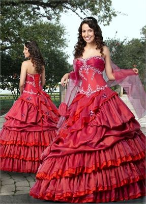 986b7996d6e Ball Gown Sweetheart Neckline with Ruffles and Embroidery Taffeta  quniceanera dress QD052
