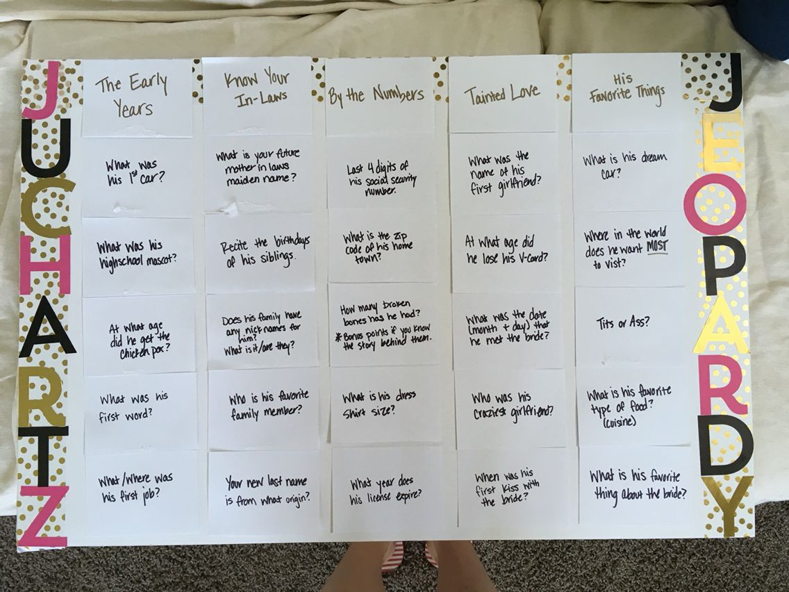 Bride-to-be Jeopardy for bachelorette party. Points are drinks to ...