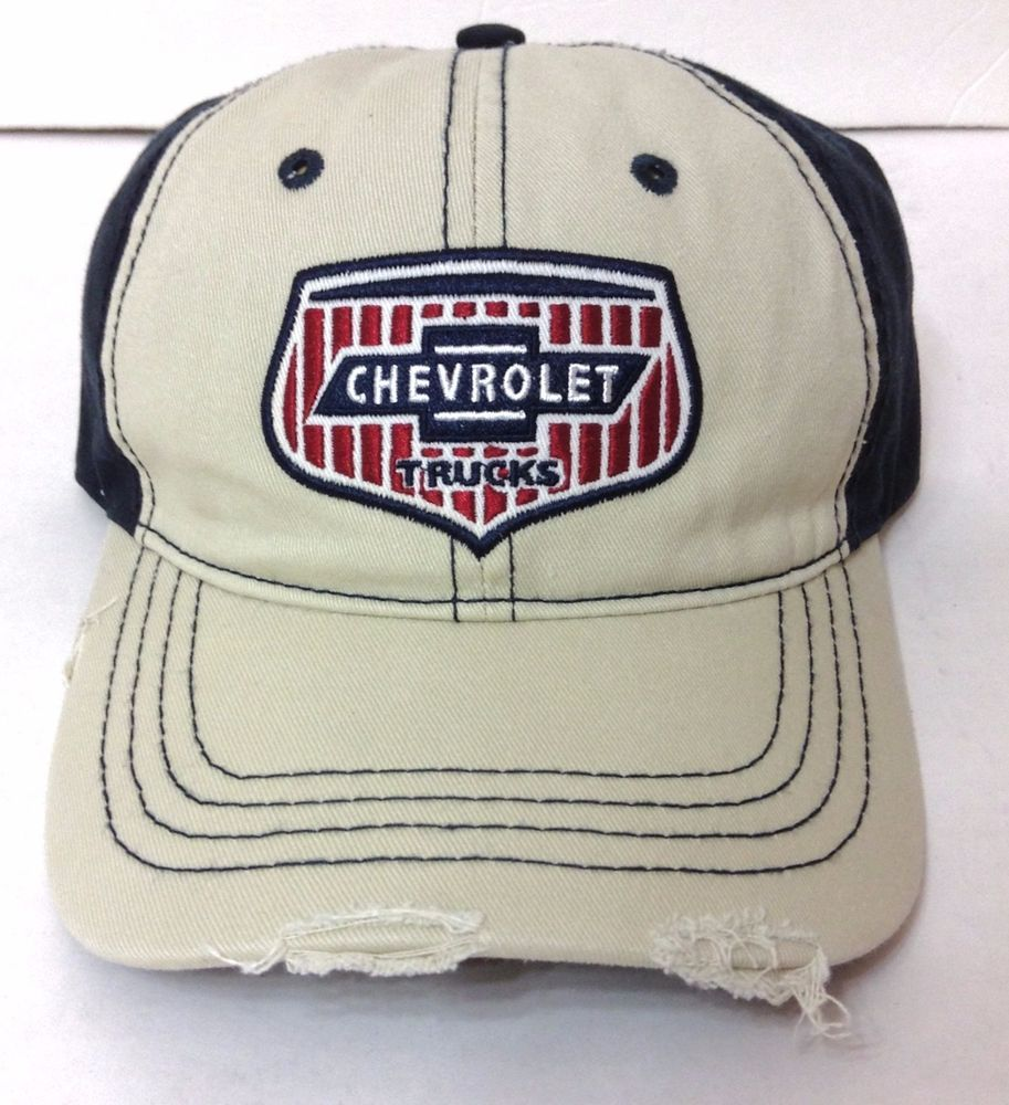55a6ef0bda4 CHEVROLET TRUCK HAT Relaxed Distressed Khaki Red Navy Blue Grill Chevy Men  Women