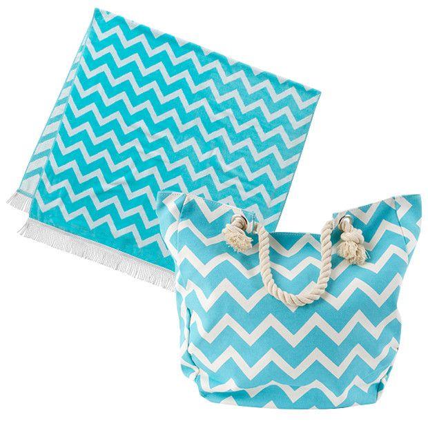 2 Piece Beach Towel   Canvas Bag Set - Fair Aqua | Beach wear ...