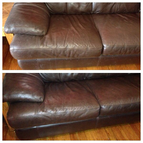 Before And After Cleaning Leather Couches. Works Amazing! 1/8 Cup Distilled  White