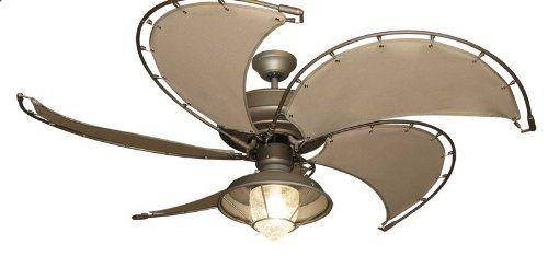 raindance nautical ceiling fan in antique bronze with khaki canvas