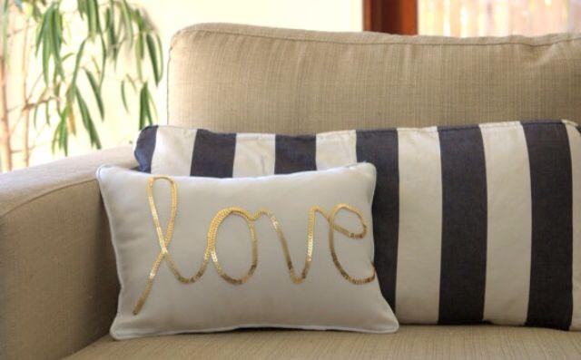 Sequin love pillow via Etsy MaxandMeHomewares