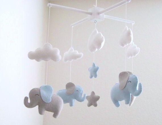 Blaue und graue Elefant baby Mobil Elefant von dlgNurseryBoutique