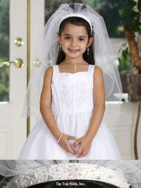 Dressforless Girls Beaded Headband with Veils for Communion