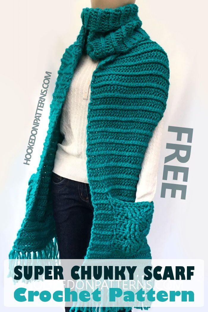 Free Crochet Pattern For A Super Chunky Scarf With Pockets Crochet