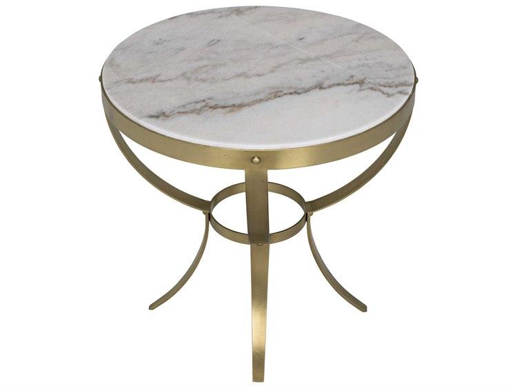 Noir Furniture Antique Brass 30 Wide Round Byron Foyer Table