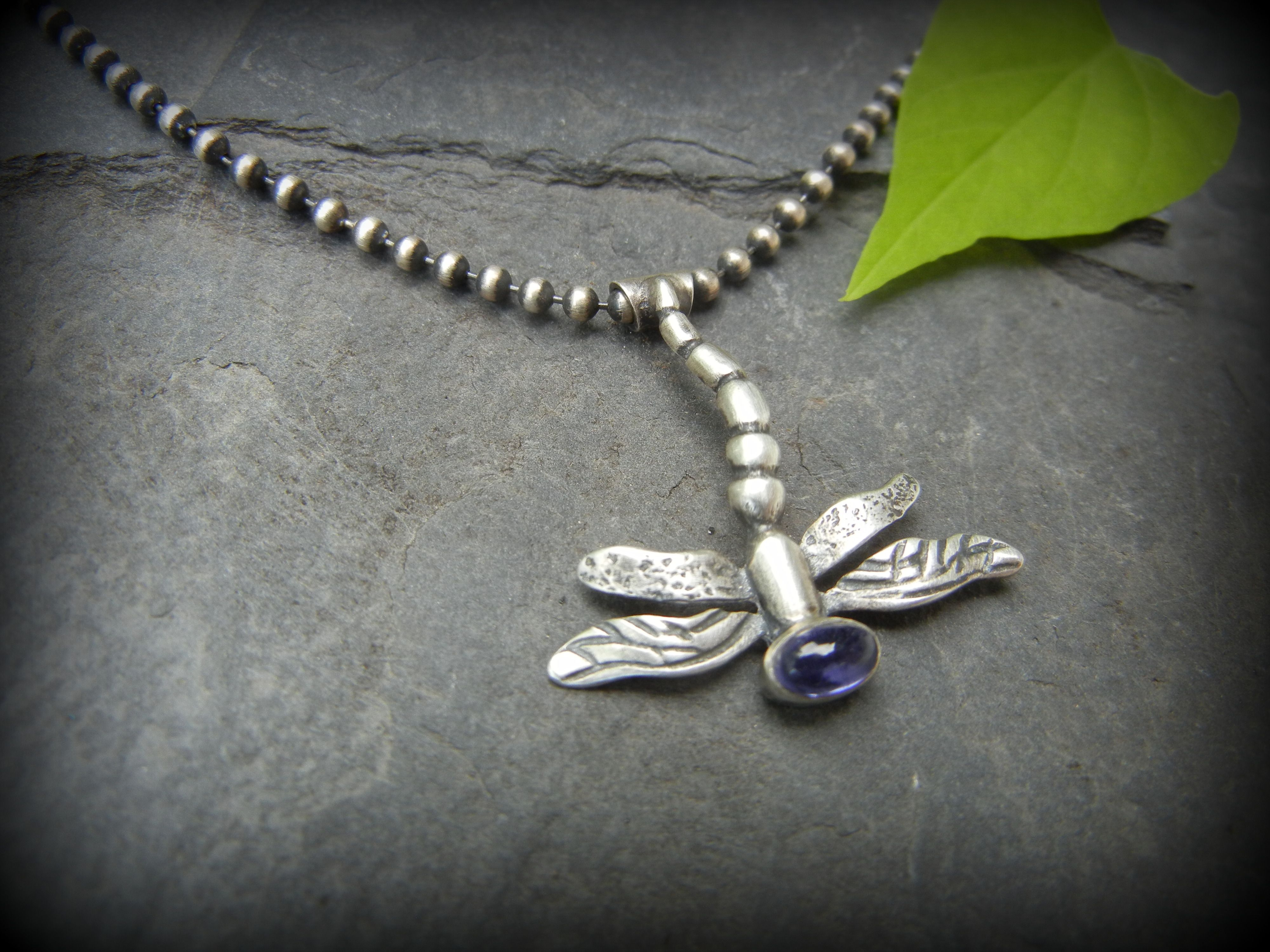 Dragonfly Pendant Iolite sterling, by Teresa de la Guardia of T and Brie, Etsy